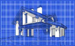 3D render sketch of modern cozy house in chalet style. For sale or rent. Aqua crayon style with blue graph grid paper background Royalty Free Stock Photos