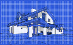 3D render sketch of modern cozy house in chalet style. For sale or rent. Aqua crayon style with blue graph grid paper background Stock Photo