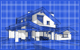 3D render sketch of modern cozy house in chalet style. For sale or rent. Aqua crayon style with blue graph grid paper background Stock Images