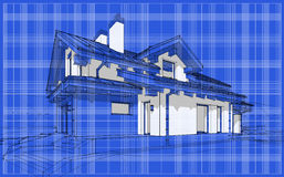 3D render sketch of modern cozy house in chalet style. For sale or rent. Aqua crayon style with blue graph grid paper background Stock Photography
