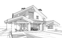 3D render sketch of modern cozy house in chalet style. For sale or rent. Aqua crayon style with hand drawing entourage royalty free illustration