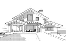 3D render sketch of modern cozy house in chalet style. For sale or rent. Aqua crayon style with hand drawing entourage stock illustration