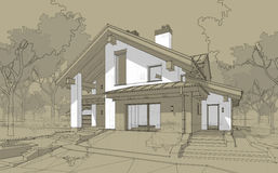 3D render sketch of modern cozy house in chalet style Stock Photography