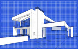 3D render sketch of modern cozy house. For sale or rent. Aqua crayon style with blue graph grid paper background Royalty Free Stock Photography