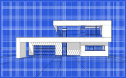 3D render sketch of modern cozy house. For sale or rent. Aqua crayon style with blue graph grid paper background Stock Photography