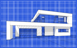 3D render sketch of modern cozy house. For sale or rent. Aqua crayon style with blue graph grid paper background Royalty Free Stock Photo