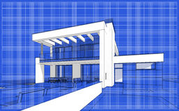3D render sketch of modern cozy house. For sale or rent. Aqua crayon style with blue graph grid paper background Stock Photo
