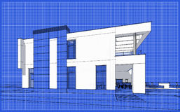 3D render sketch of modern cozy house. For sale or rent. Sketch style with blue graph grid paper background Royalty Free Stock Photo
