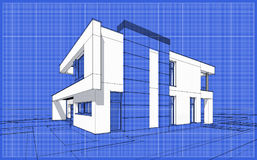 3D render sketch of modern cozy house. For sale or rent. Sketch style with blue graph grid paper background Stock Photo