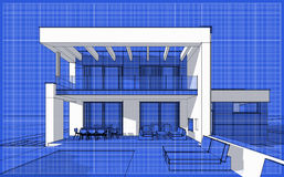 3D render sketch of modern cozy house. For sale or rent. Sketch style with blue graph grid paper background Royalty Free Stock Photography