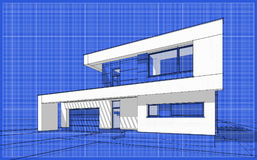 3D render sketch of modern cozy house. For sale or rent. Sketch style with blue graph grid paper background Royalty Free Stock Photos
