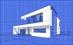 3D render sketch of modern cozy house. For sale or rent. Sketch style with blue graph grid paper background Stock Photography