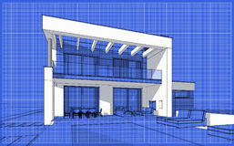 3D render sketch of modern cozy house. For sale or rent. Sketch style with blue graph grid paper background Stock Images