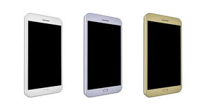 3D render of smartphones. With blank screens in colors white, silver and gold Royalty Free Stock Photos