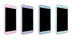 3D render of smartphones in different colors. 3D render of smartphones with blank screens in colors pink, purple, blue and green Royalty Free Stock Photo