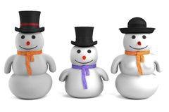 3d render of snowman family Royalty Free Stock Photos