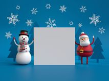 3d render, snowman and Santa Claus, holding white paper sheet, b Stock Photos