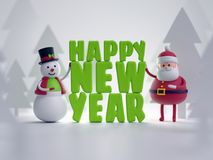 3d render, snowman and Santa Claus, toys, Happy New Year letters. Greeting text, snowy forestl, festive background Stock Photos