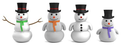 3d render of snowmen. Realistic 3d render of snowmen Stock Image