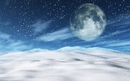 3D snowy Christmas landscape with moon. 3D render of a snowy Christmas landscape with moon stock illustration