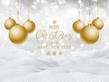 3D snowy landscape with hanging baubles and glittery text. 3D render of a snowy landscape with hanging baubles and glittery text vector illustration