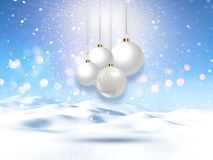 3D snowy landscape with hanging Christmas baubles. 3D render of a snowy landscape with hanging Christmas baubles Royalty Free Stock Image