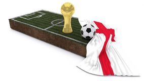 3D Soccer ball and trophy on grass patch with flag. 3D Render of Soccer Bal and trophyl on Grass Patch with flag Stock Photography