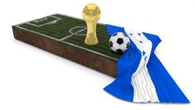 3D Soccer ball and trophy on grass patch with flag. 3D Render of Soccer Bal and trophyl on Grass Patch with flag Stock Image