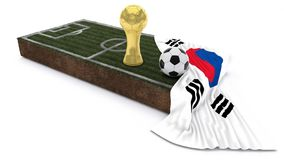 3D Soccer ball and trophy on grass patch with flag. 3D Render of Soccer Bal and trophyl on Grass Patch with flag Royalty Free Stock Image