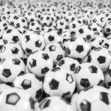 3d render - soccer balls. Footballs - balls - depth of field Stock Photo