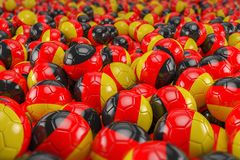 3d render - soccer balls - germany. 3d render - soccer balls with germany flag - footballs Royalty Free Stock Photo