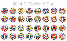 3D render of 32 soccer football. Representing all competitor countries on 2014 FIFA world cup on on white background Stock Photos