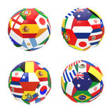 3D render of 4 soccer football. Representing competition group B on 2014 FIFA world cup on on white background stock illustration