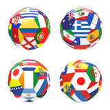 3D render of 4 soccer football. Representing competition group C on 2014 FIFA world cup on on white background vector illustration