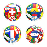3D render of 4 soccer football. Representing competition group E on 2014 FIFA world cup on on white background royalty free illustration