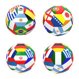 3D render of 4 soccer football. Representing competition group F on 2014 FIFA world cup on on white background stock illustration