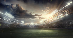 Sport Backgrounds. Soccer stadium. 3d render. 3d render of the soccer stadium with dramatick sky vector illustration