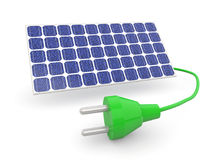 3d render of solar panel and electric plug Stock Photo