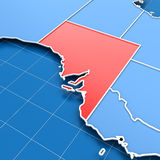 3d render of South Australia map Royalty Free Stock Photo
