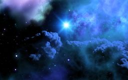 3D space sky with galaxy and shining star. 3D render of a space sky with galaxy and shining star Royalty Free Illustration