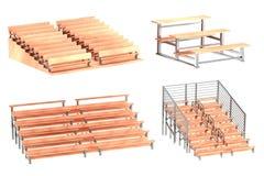 3d render of stadium benches Stock Photos