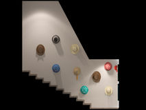 3d render of a stair hall interior design in a modern style. Stock Photo