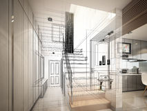 3d render of stair hall. Interior disign Stock Photography