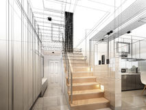 3d render of stair hall. Interior disign Stock Images