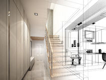 3d render of stair hall. Interior disign Stock Image