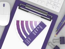 3d render of stationery with color palette guide. Lying on wooden desk. Ultraviolet. Color of the year 2018 Stock Photography