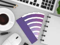 3d render of stationery with color palette guide. Lying on wooden desk. Ultraviolet. Color of the year 2018 Stock Image