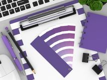 3d render of stationery with color palette guide. Lying on wooden desk. Ultraviolet. Color of the year 2018 Stock Images