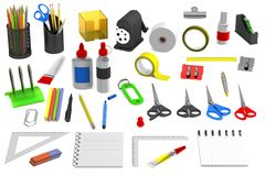 3d render of stationery tools Royalty Free Stock Image