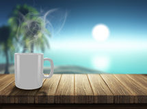 3D render of steaming hot drink on decking looking out to a trop Royalty Free Stock Images